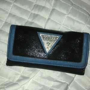 GUESS Leather Blue and Black Wallet